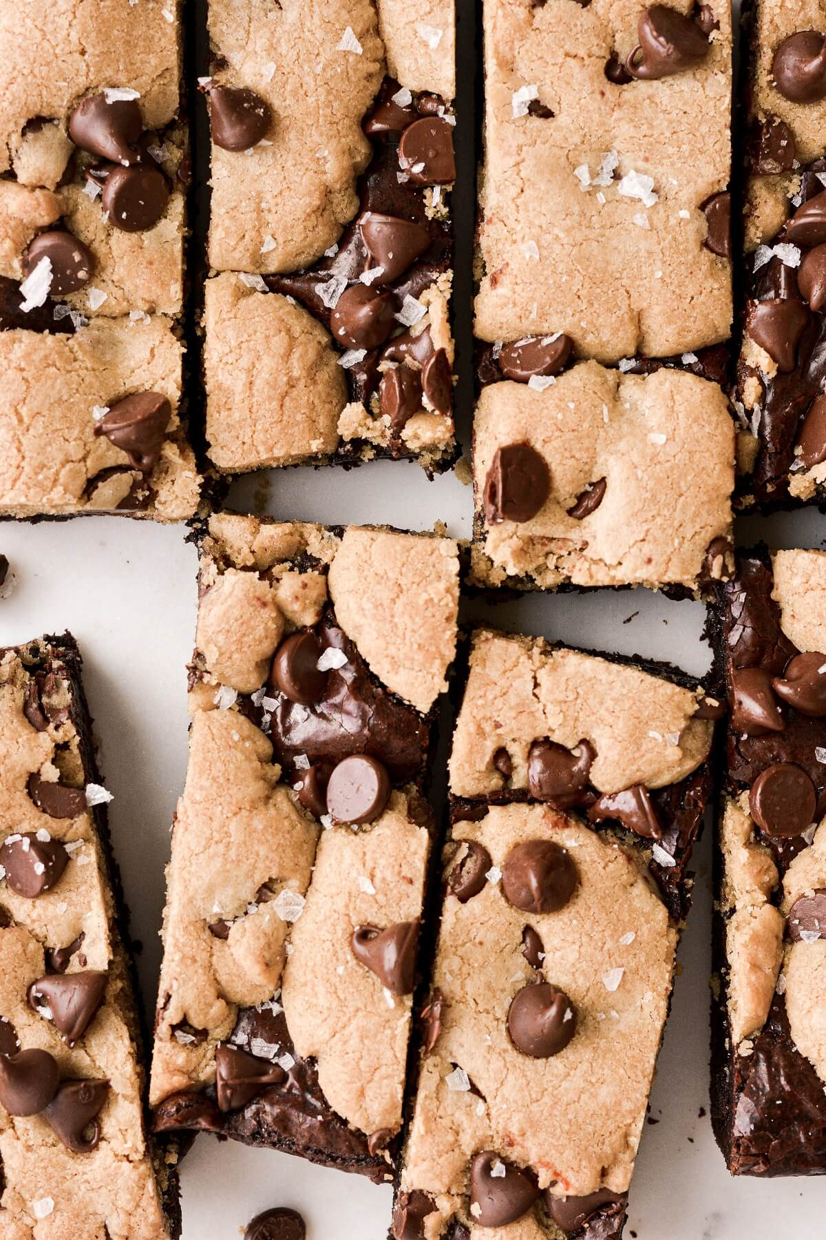 Chocolate chip cookie brownies, sprinkled with salt and cut into bars.