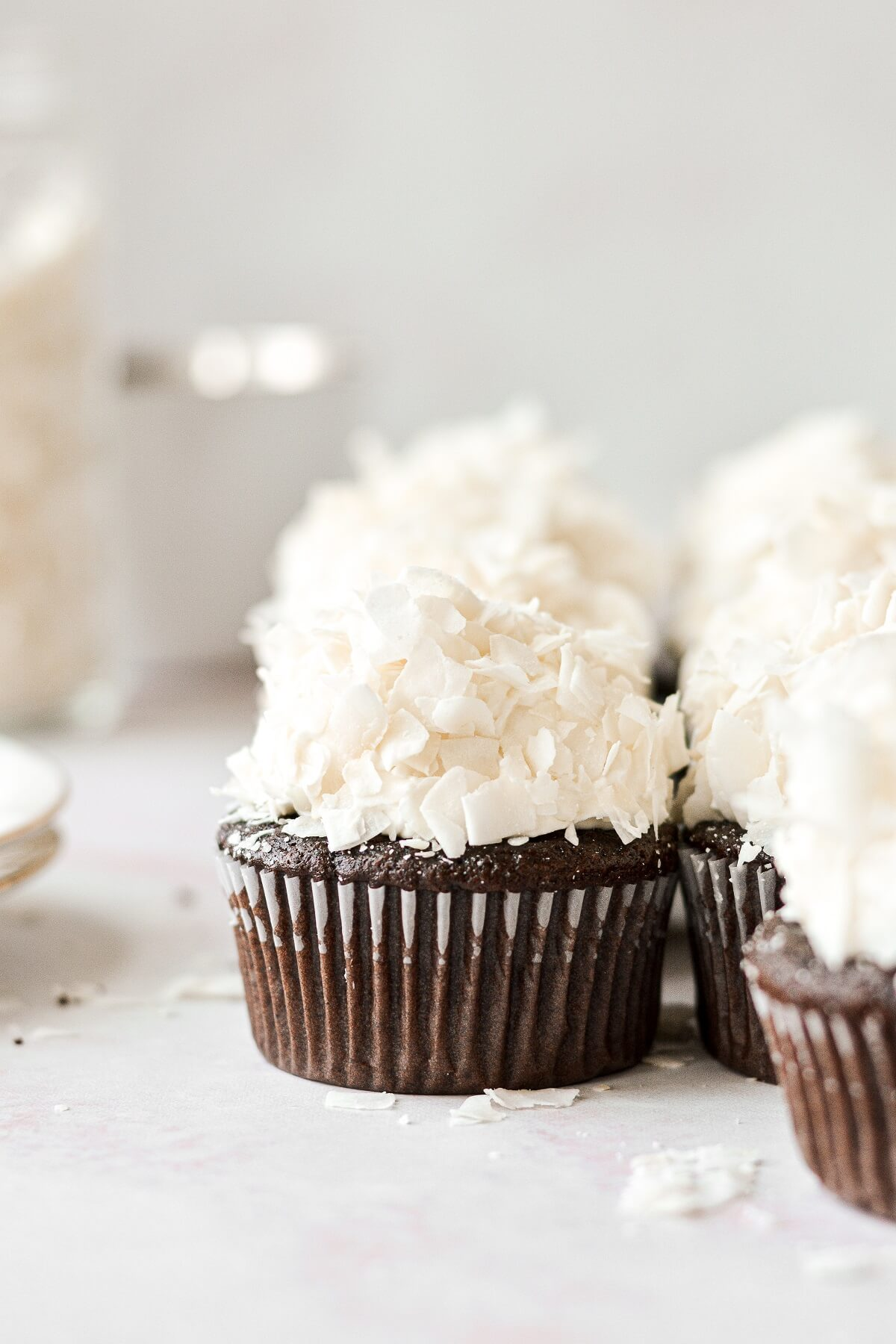 Chocolate cupcakes with coconut frosting.