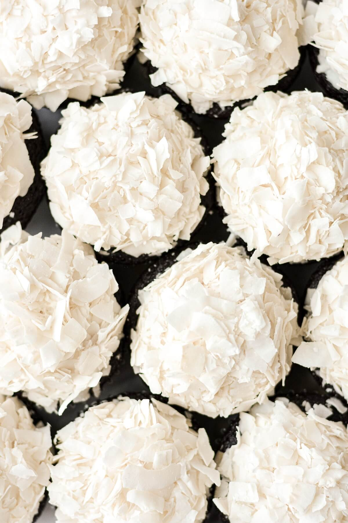 The top view of chocolate coconut cupcakes.