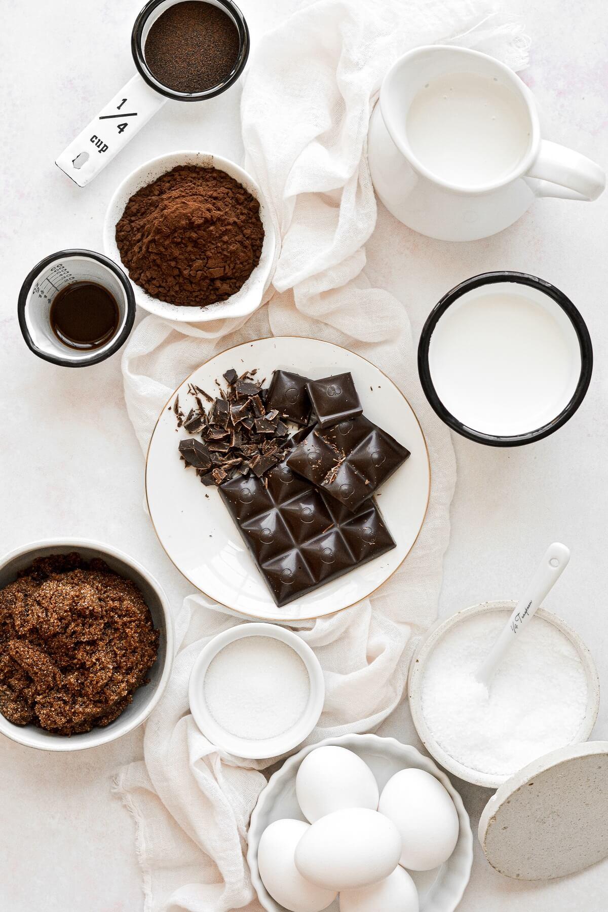 Ingredients for dark chocolate ice cream.