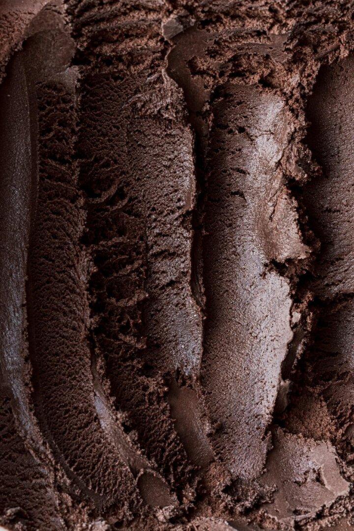Closeup of dark chocolate ice cream.