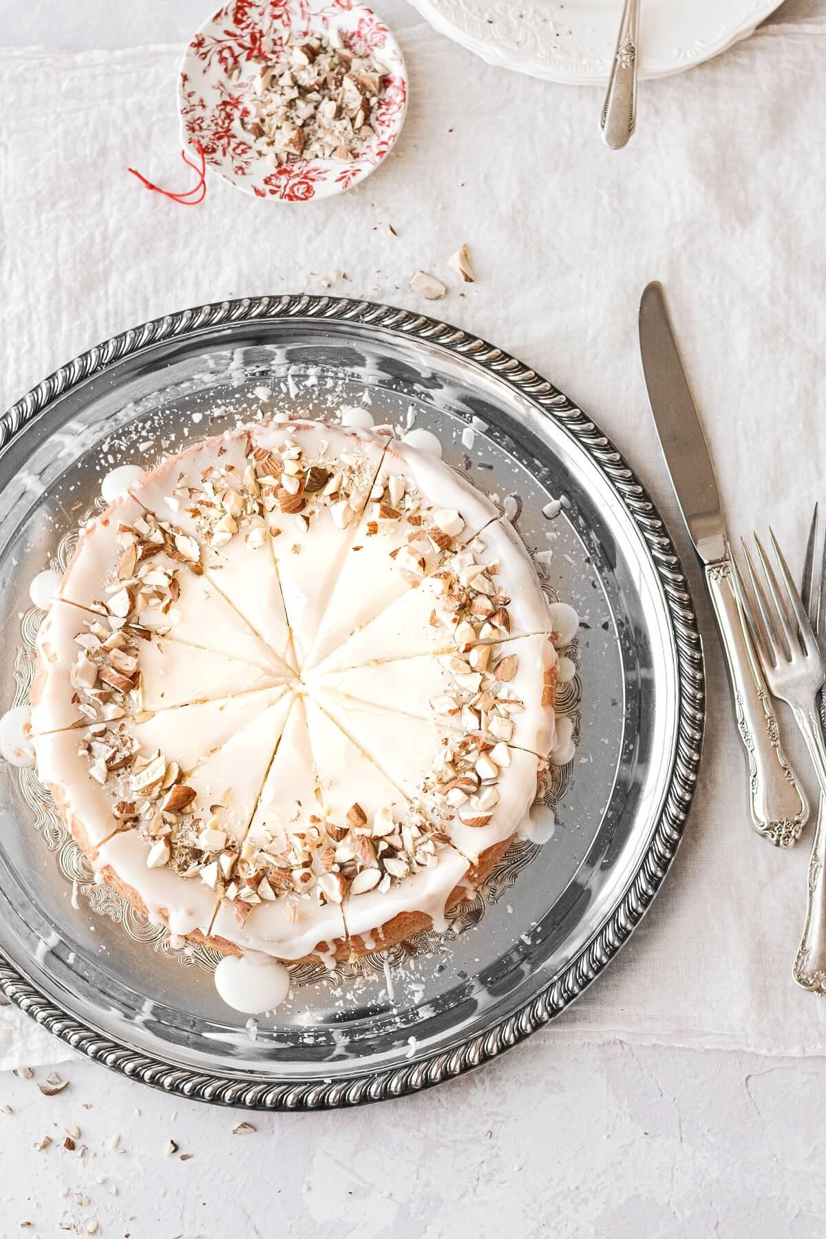 Flourless almond cake, cut into slices.