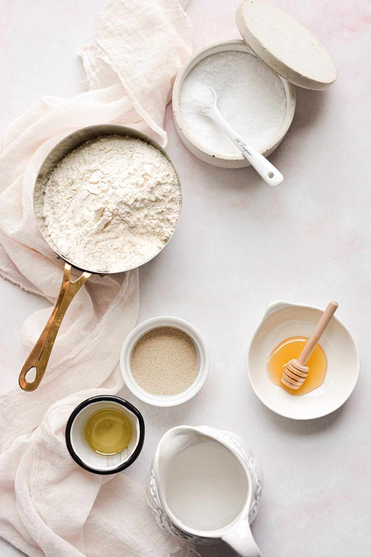 Ingredients for homemade pizza dough.