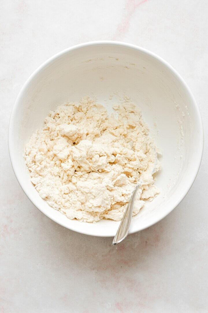 Pie dough in a white bowl.