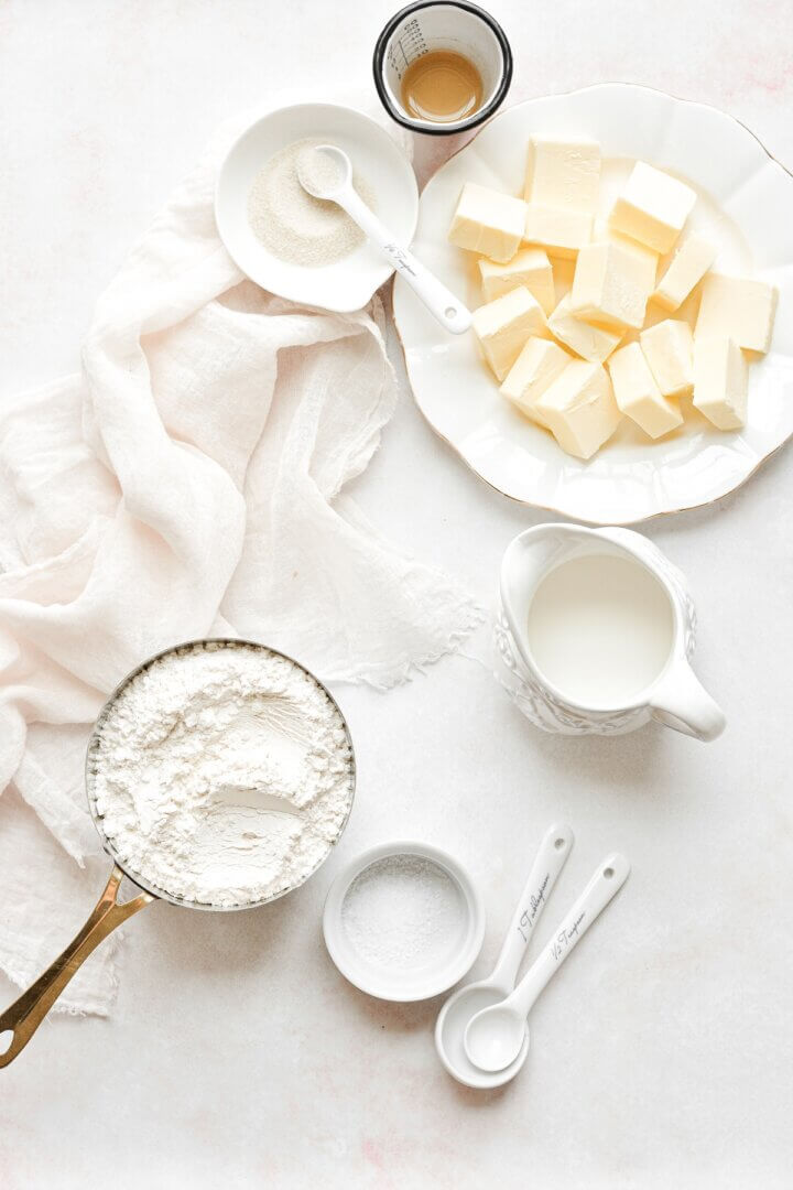 Ingredients for making pie dough.