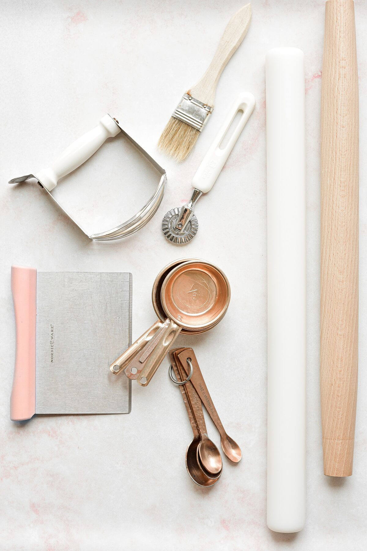 Tools for making pie dough.