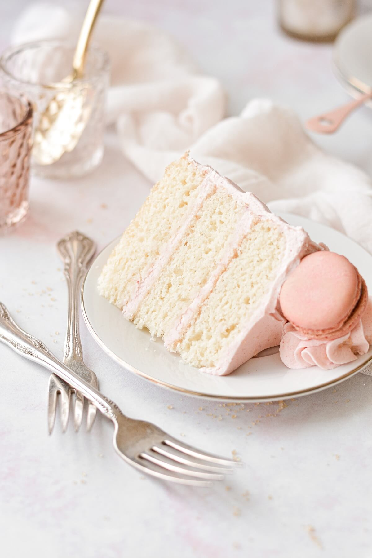 A slice of strawberry almond cake.