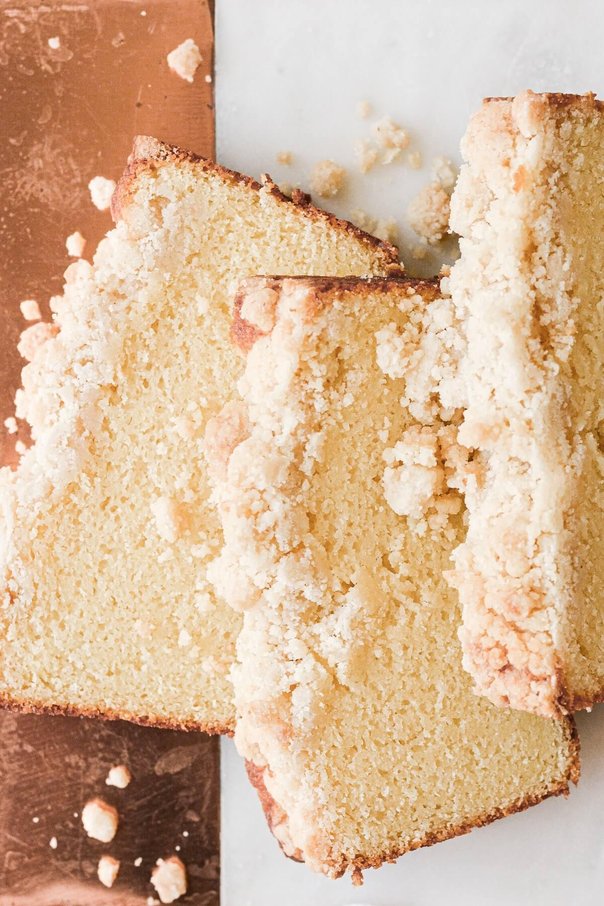Slices of almond crumb pound cake.