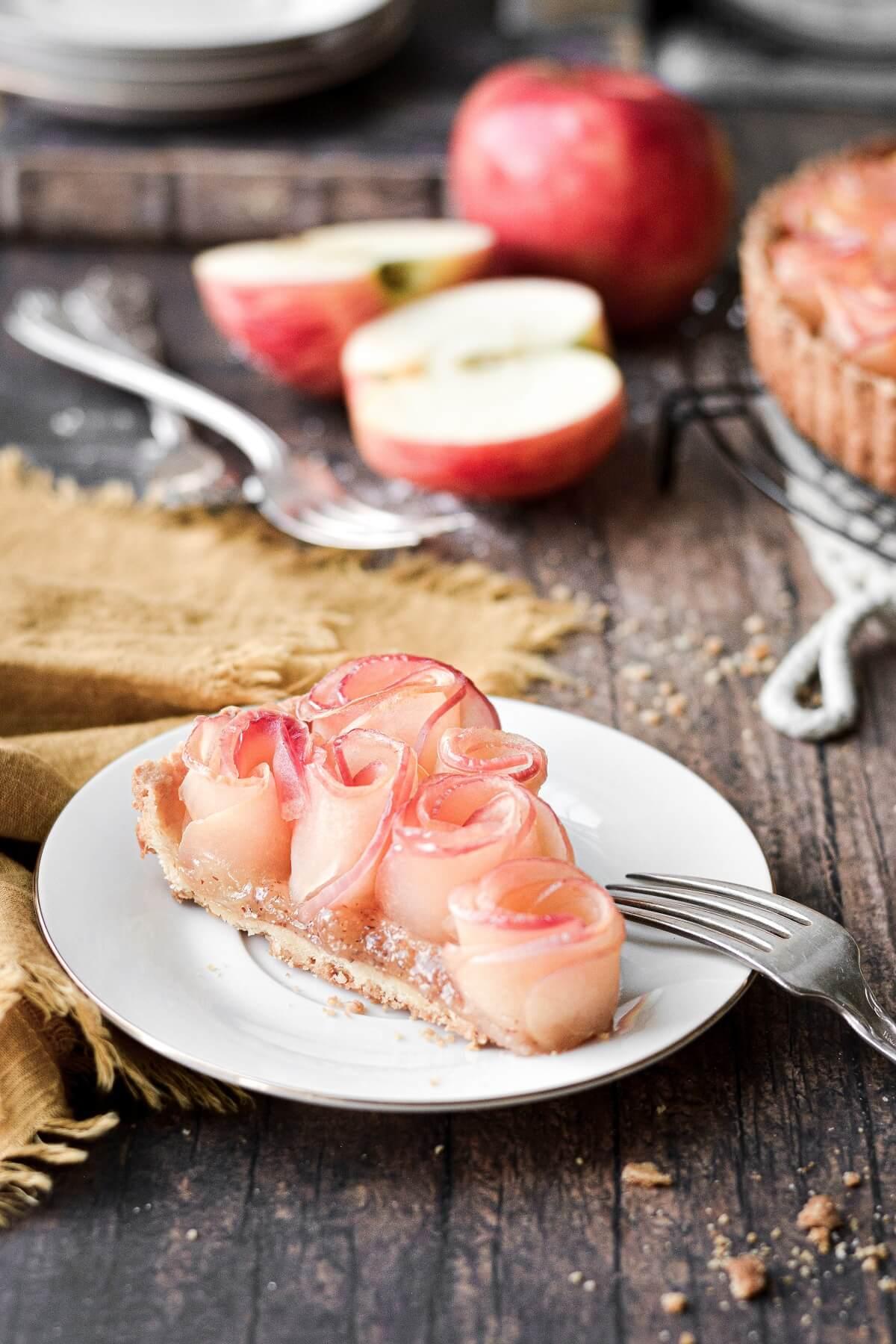 A slice of apple rose tart.