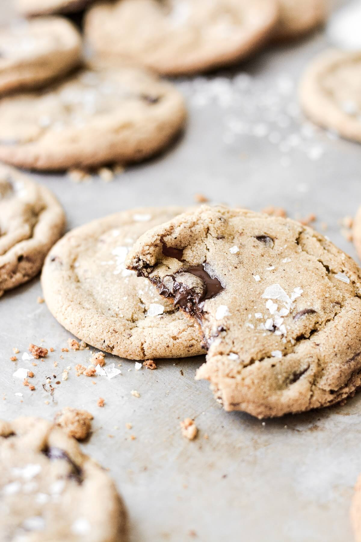 A chocolate chip cookie with a bite taken.