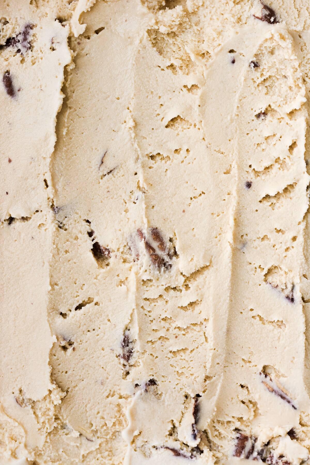 Closeup of homemade butter pecan ice cream.