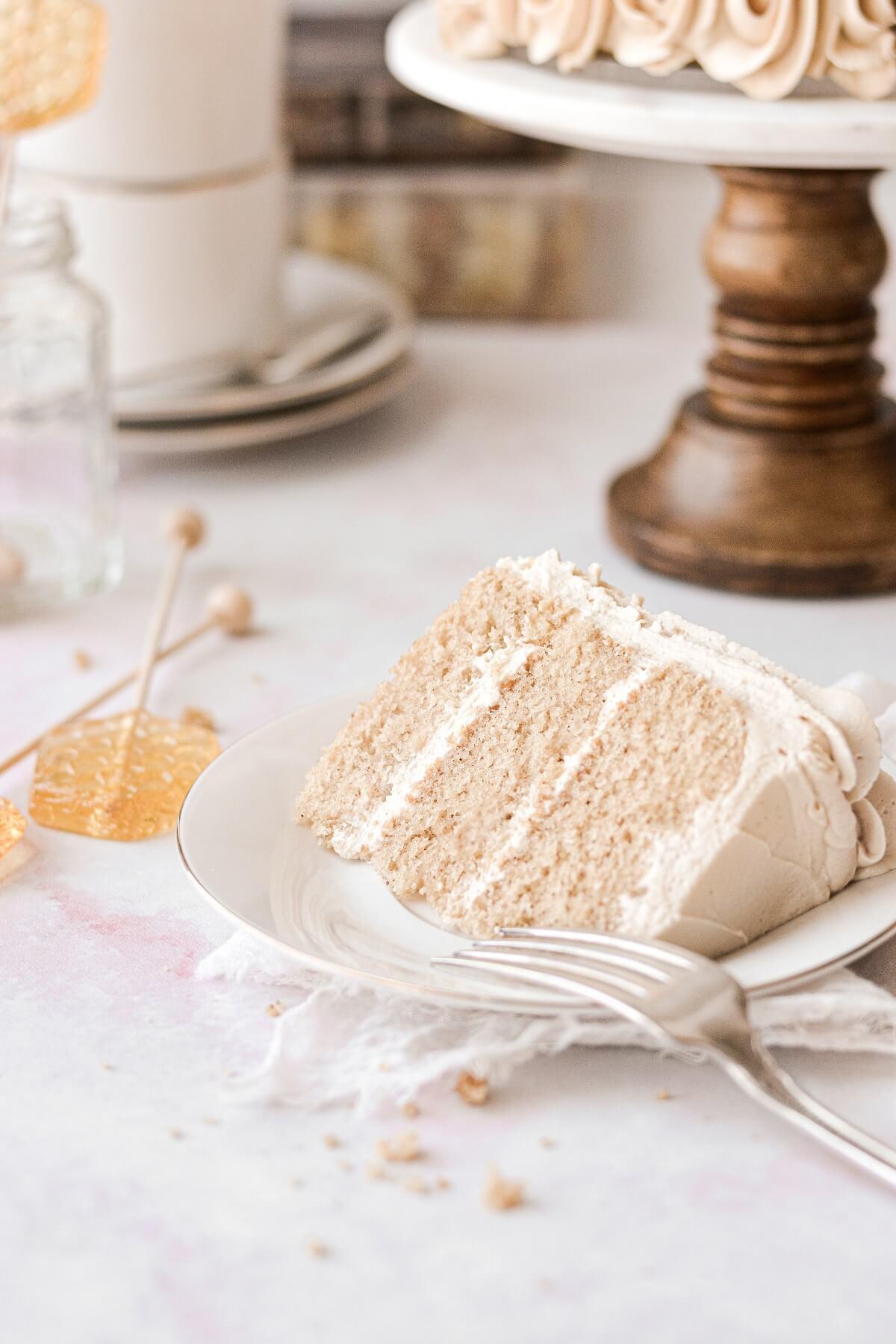 A slice of chai tea spice cake.