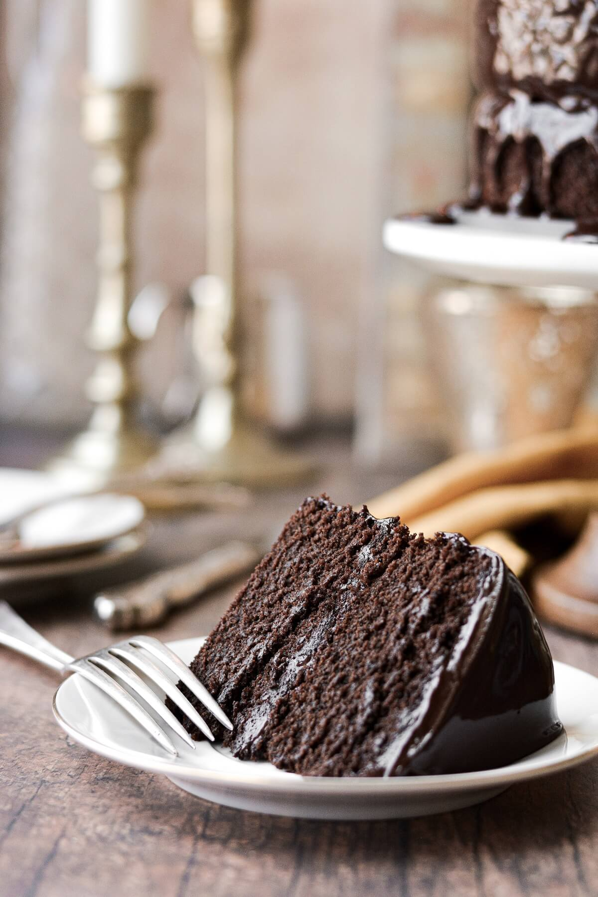 A slice of chocolate fudge cake.