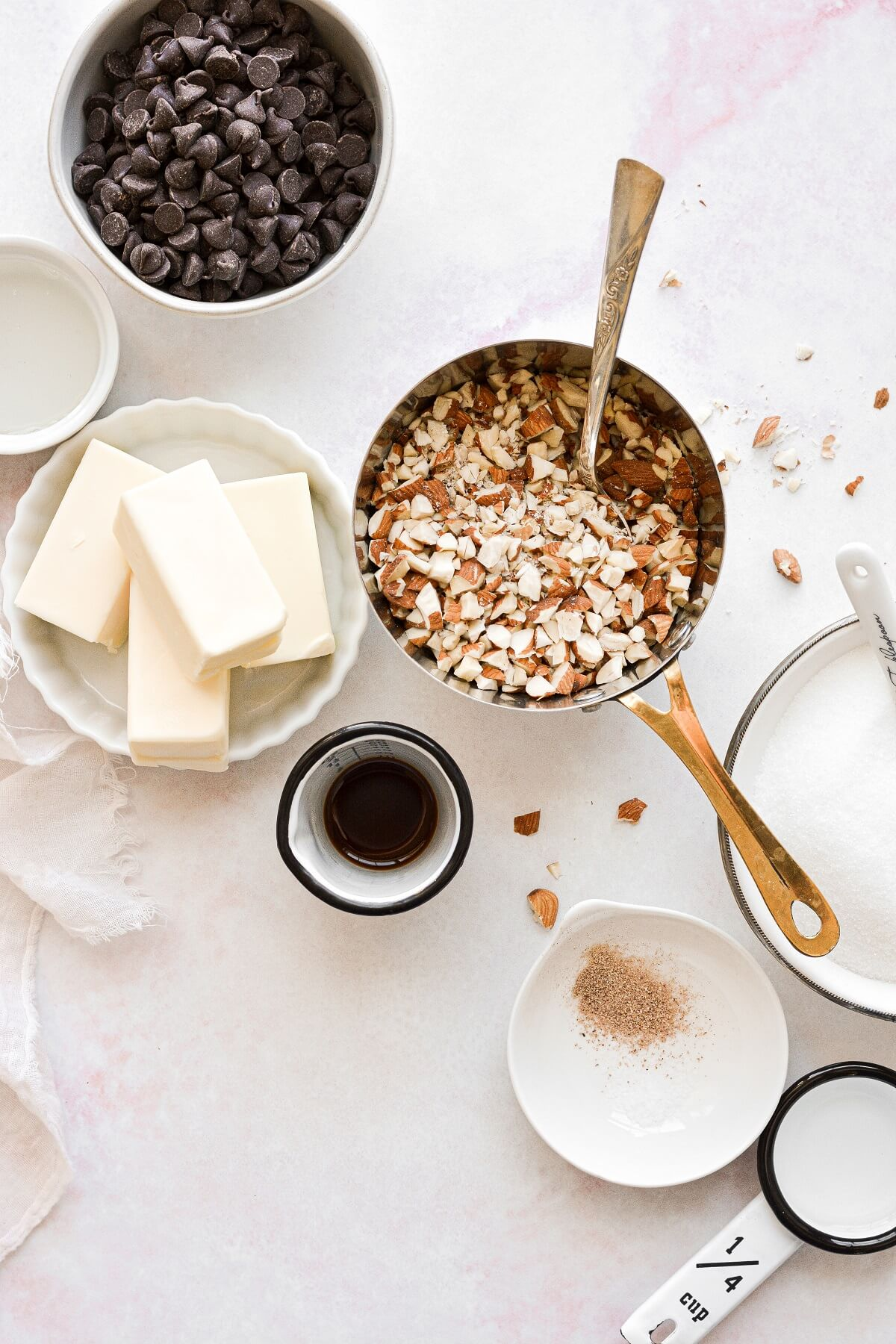 Ingredients for making English toffee.