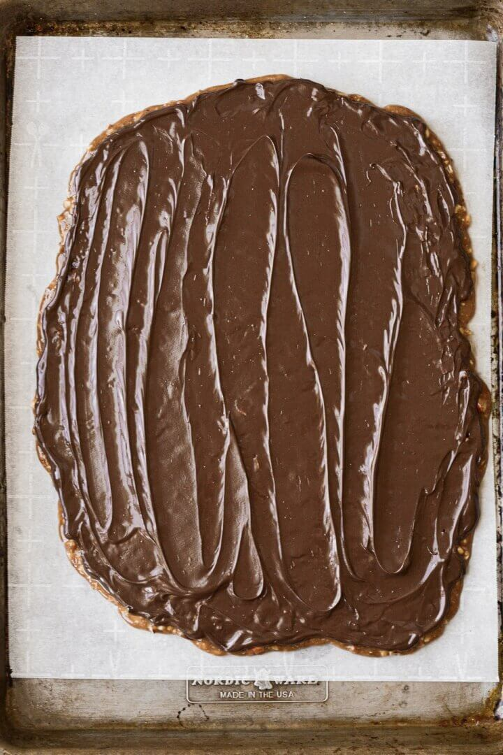 English toffee spread with chocolate.