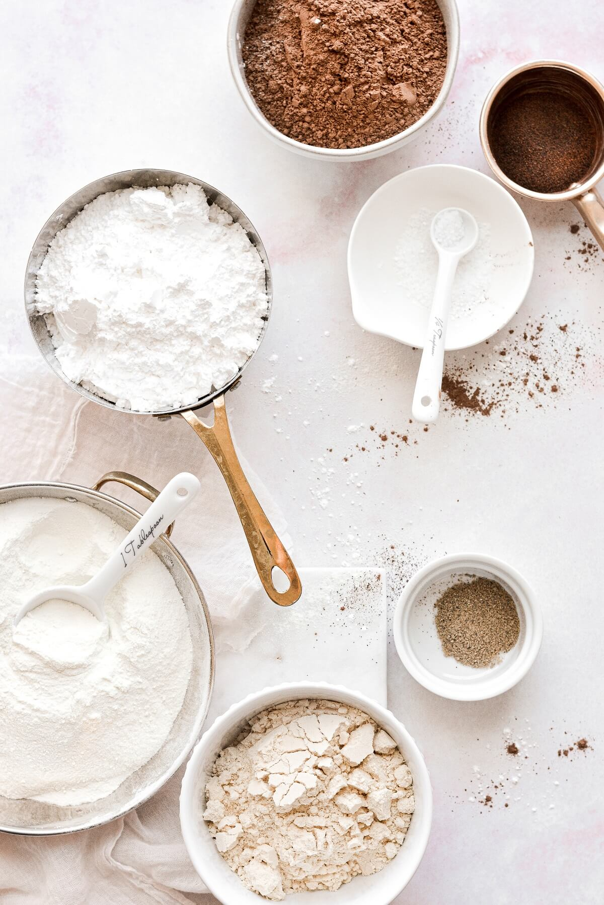 Ingredients for homemade hot chocolate mix.
