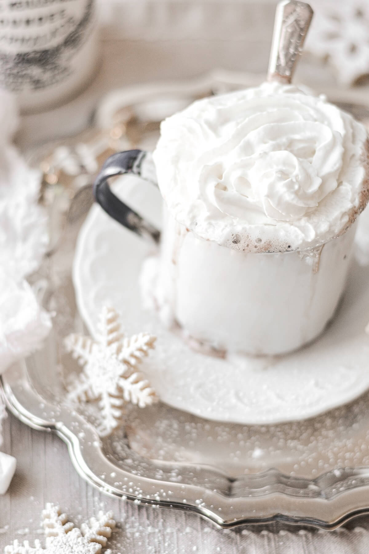 A cup of hot chocolate topped with whipped cream.
