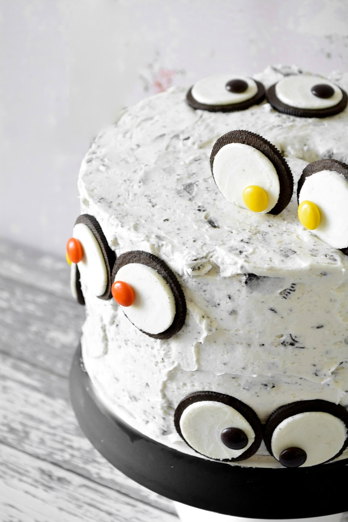 A cookies and cream cake with Oreo monster eyes.