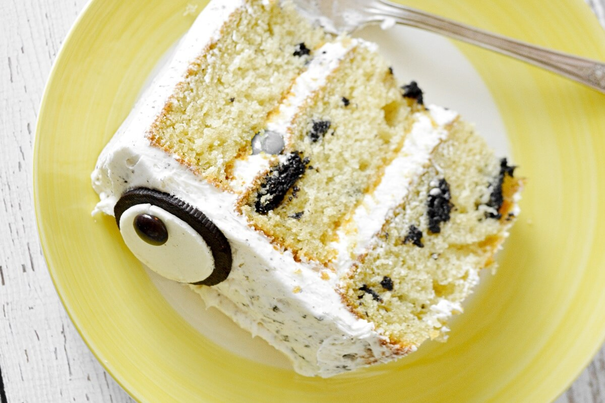 A slice of cookies and cream cake.