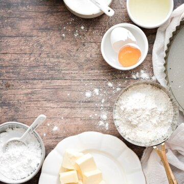 Ingredients for making a shortbread tart crust.