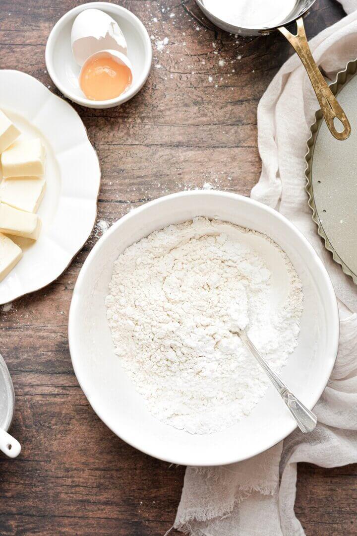 Dry ingredients for shortbread tart crust.