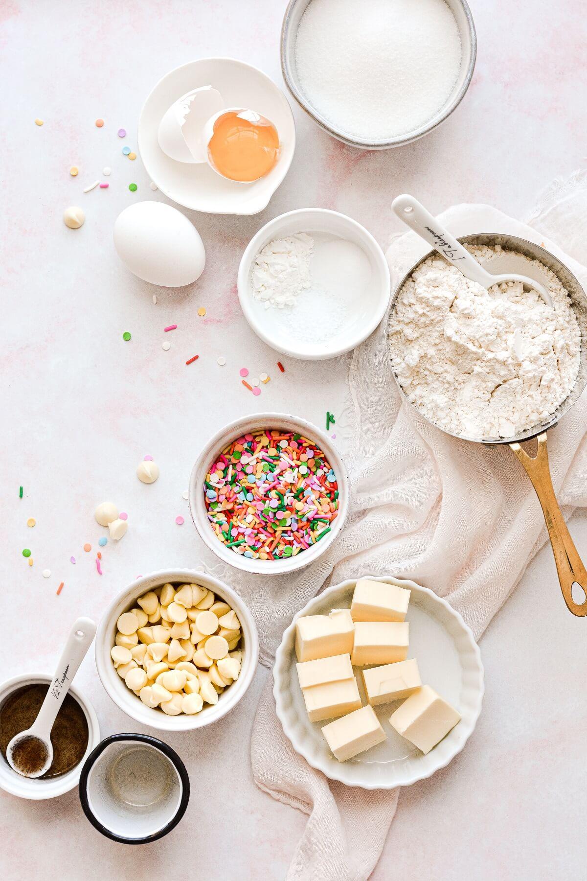 Ingredients for making sprinkles cookies.