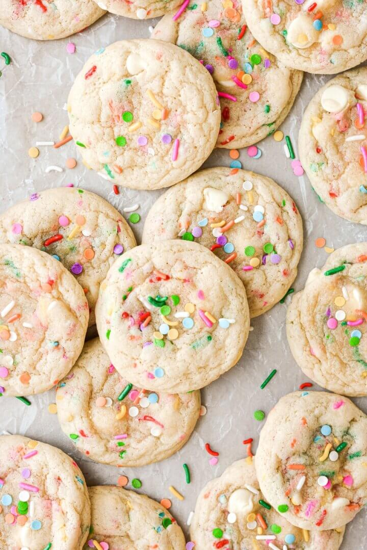Cookies with sprinkles and white chocolate chips.