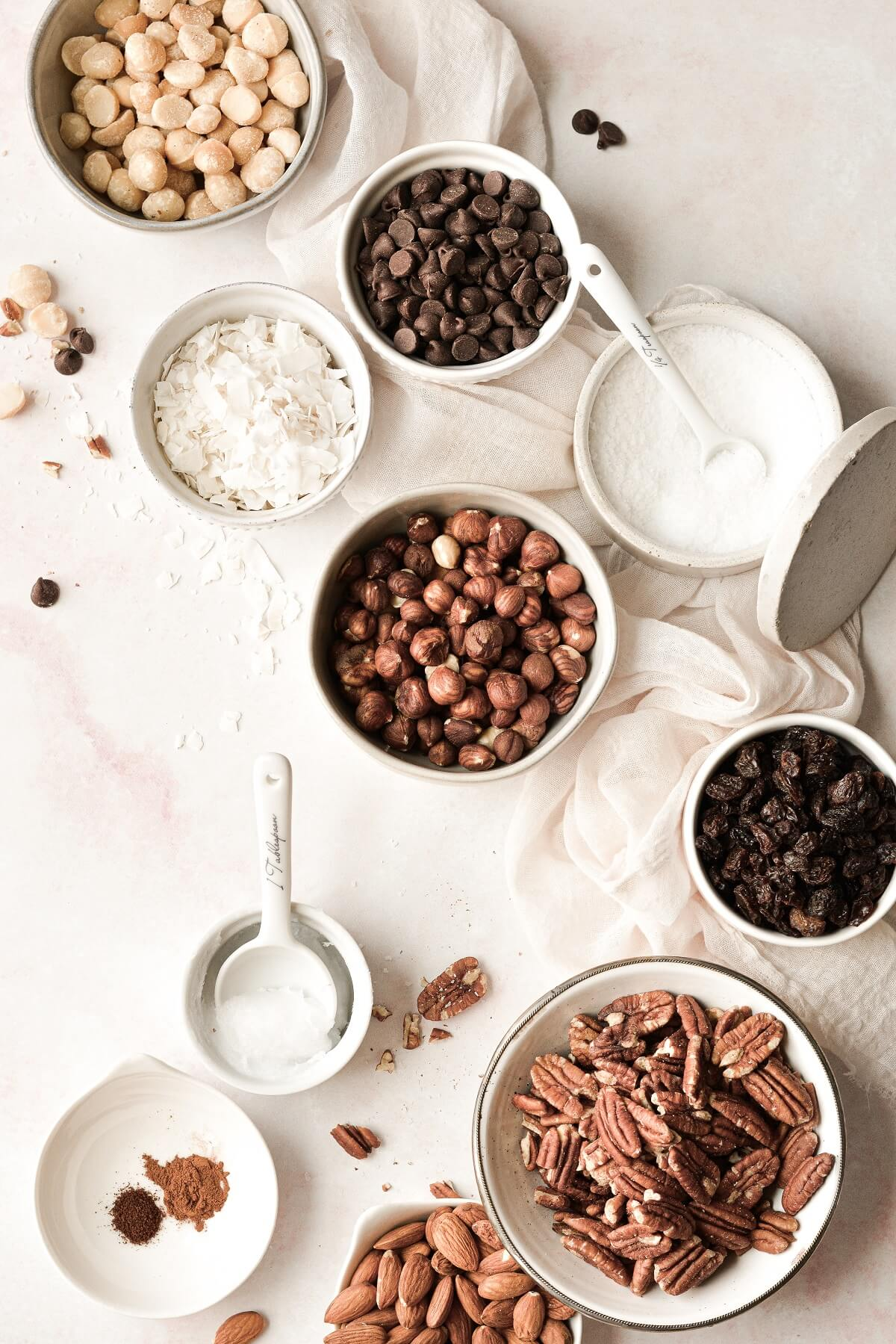 Ingredients laid out for homemade toasted trail mix.