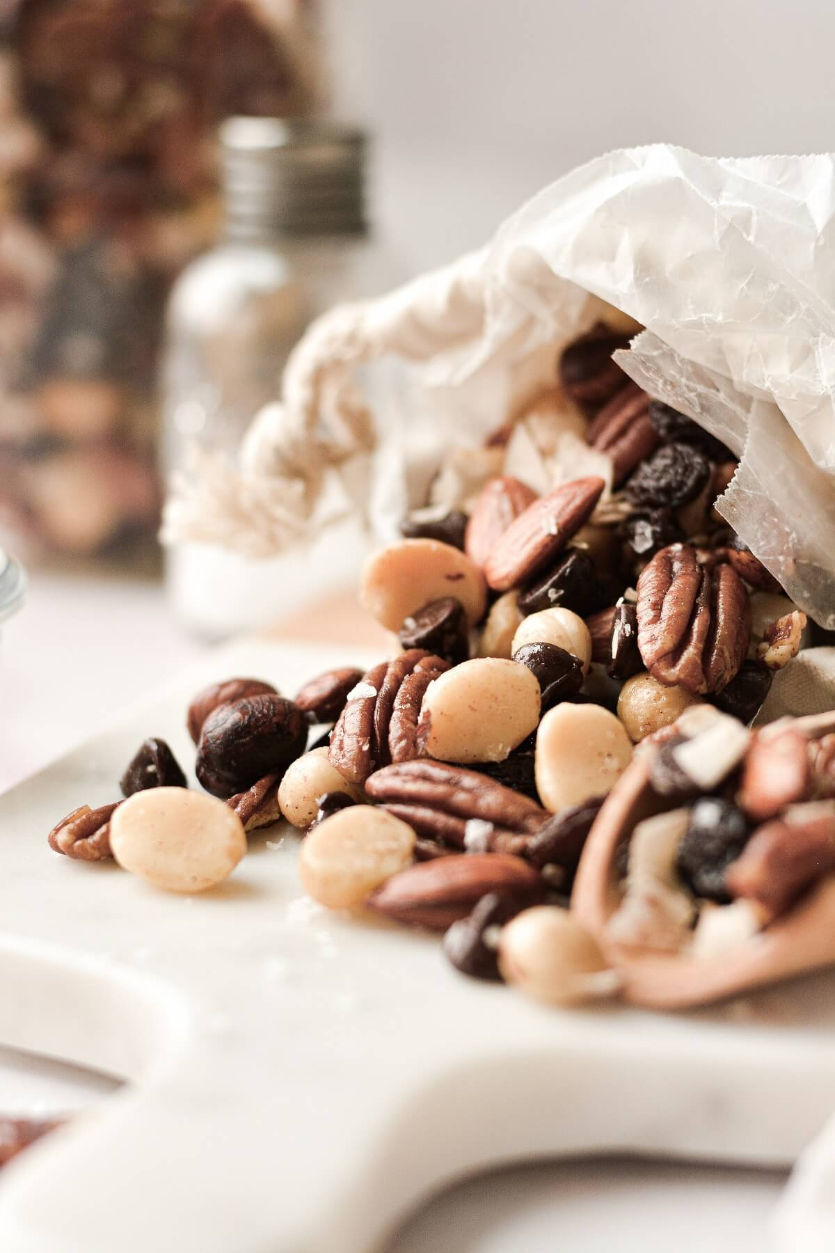 Homemade trail mix on a cutting board.