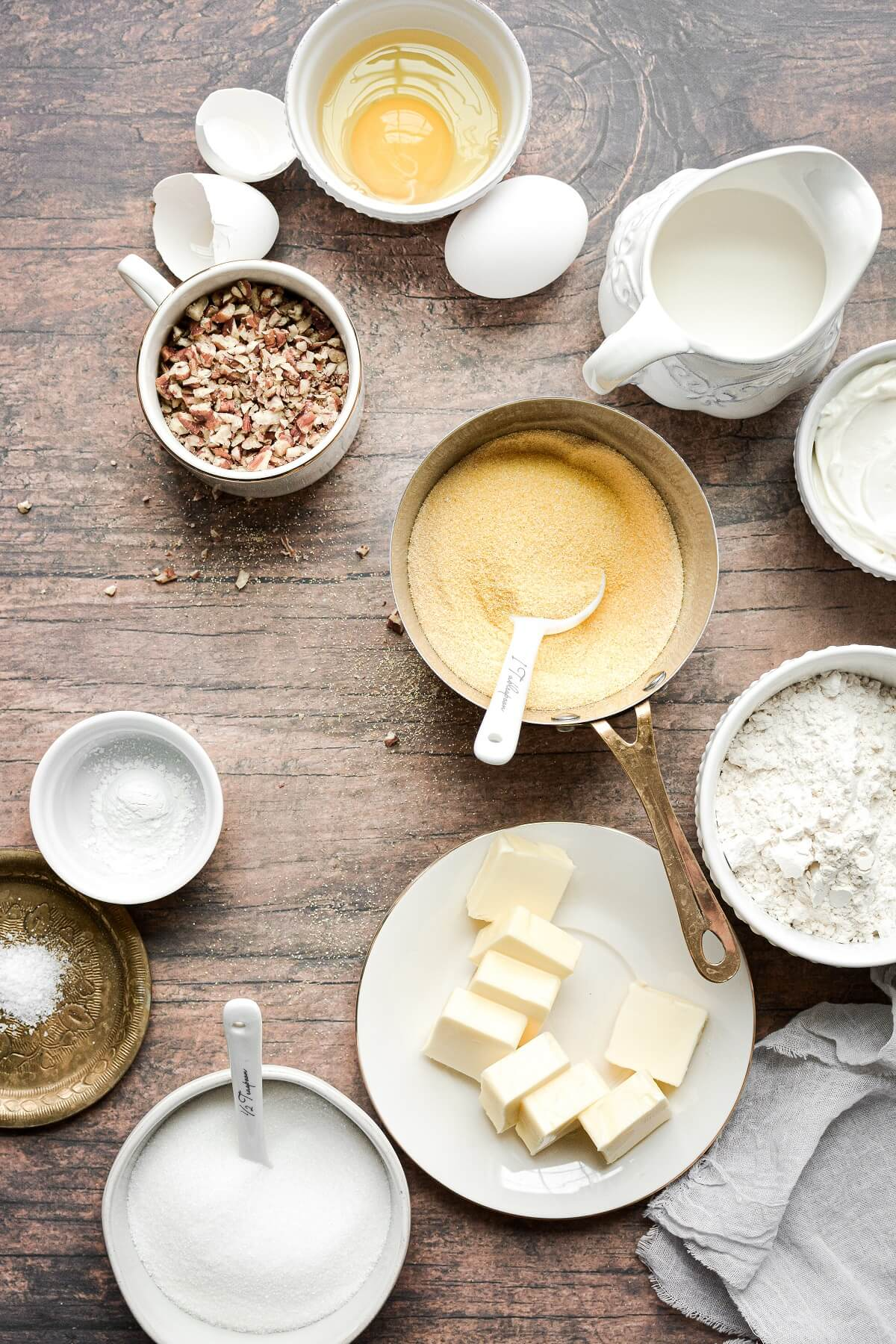 Ingredients for making cornbread.