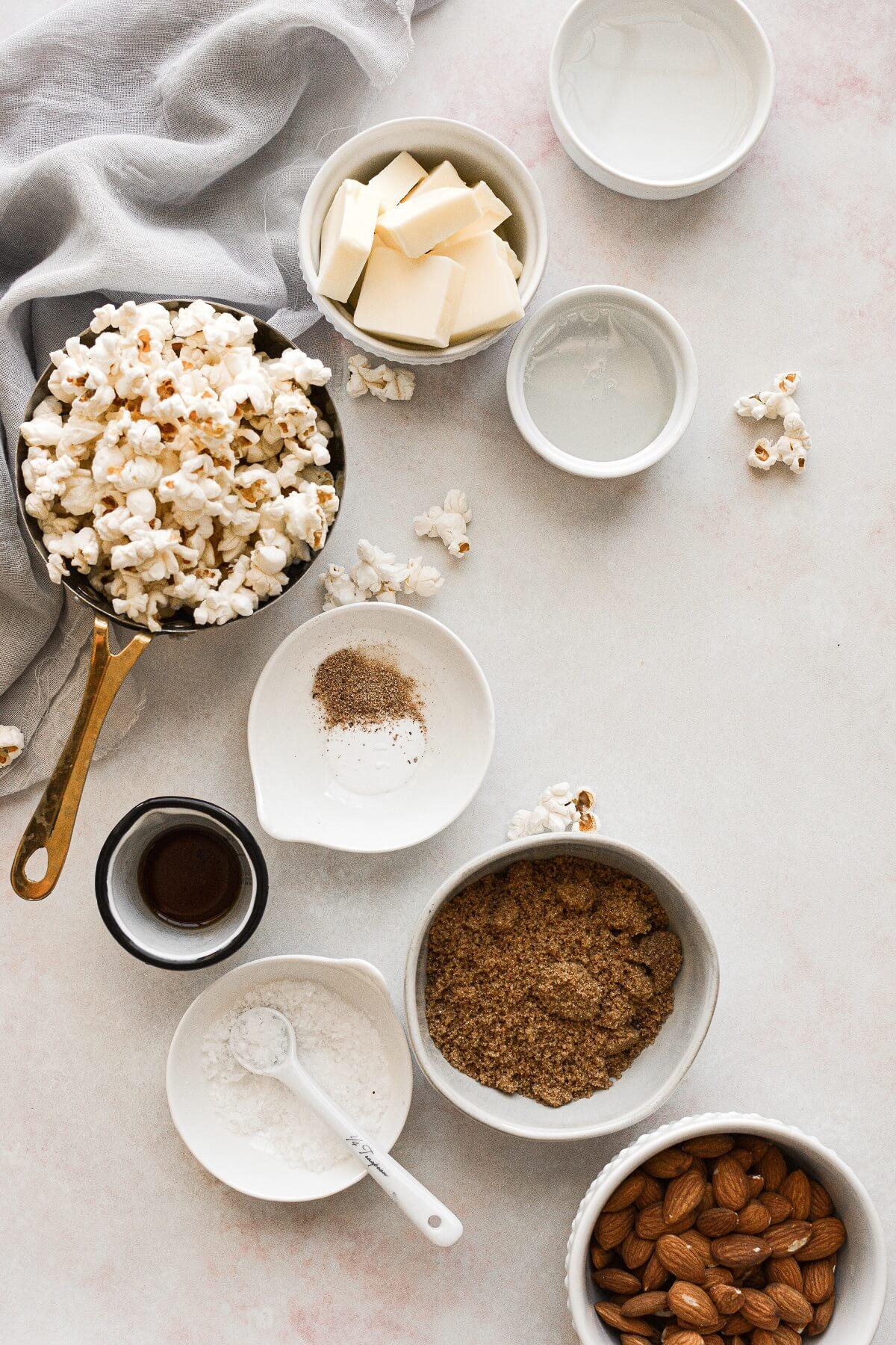 Ingredients for making homemade caramel popcorn.