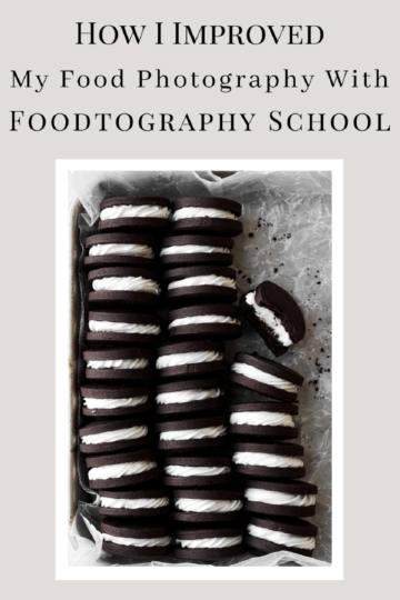 A graphic on how I improved my food photography with Foodtography School.