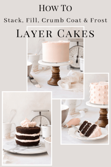 A graphic on how to stack, fill, crumb coat and frost layer cakes.