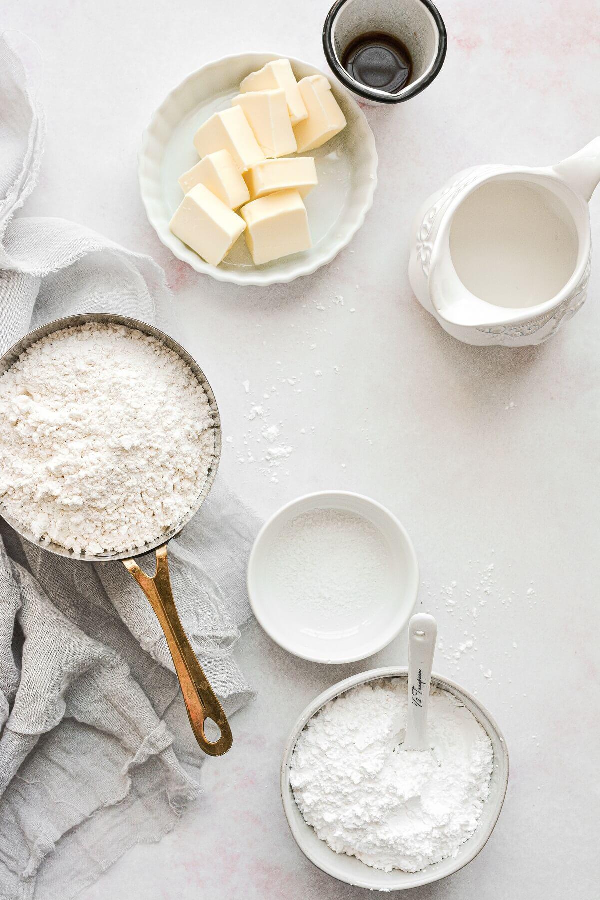 Ingredients for making sugar cookies.