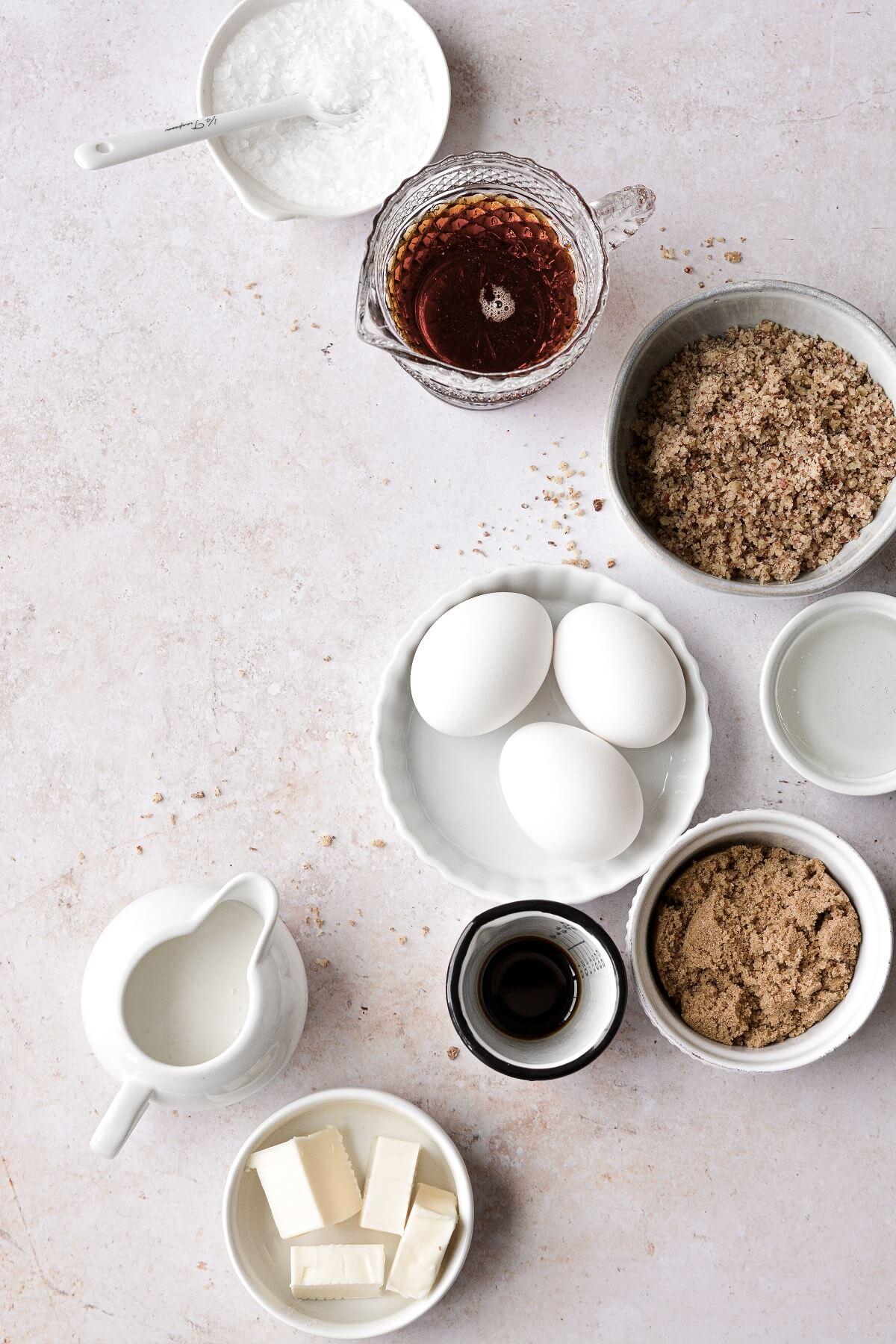 Ingredients for making maple pecan tart.