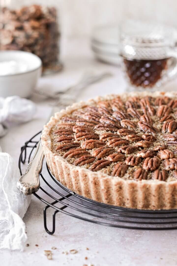 Fluted pecan shortbread crust on a maple pecan tart.