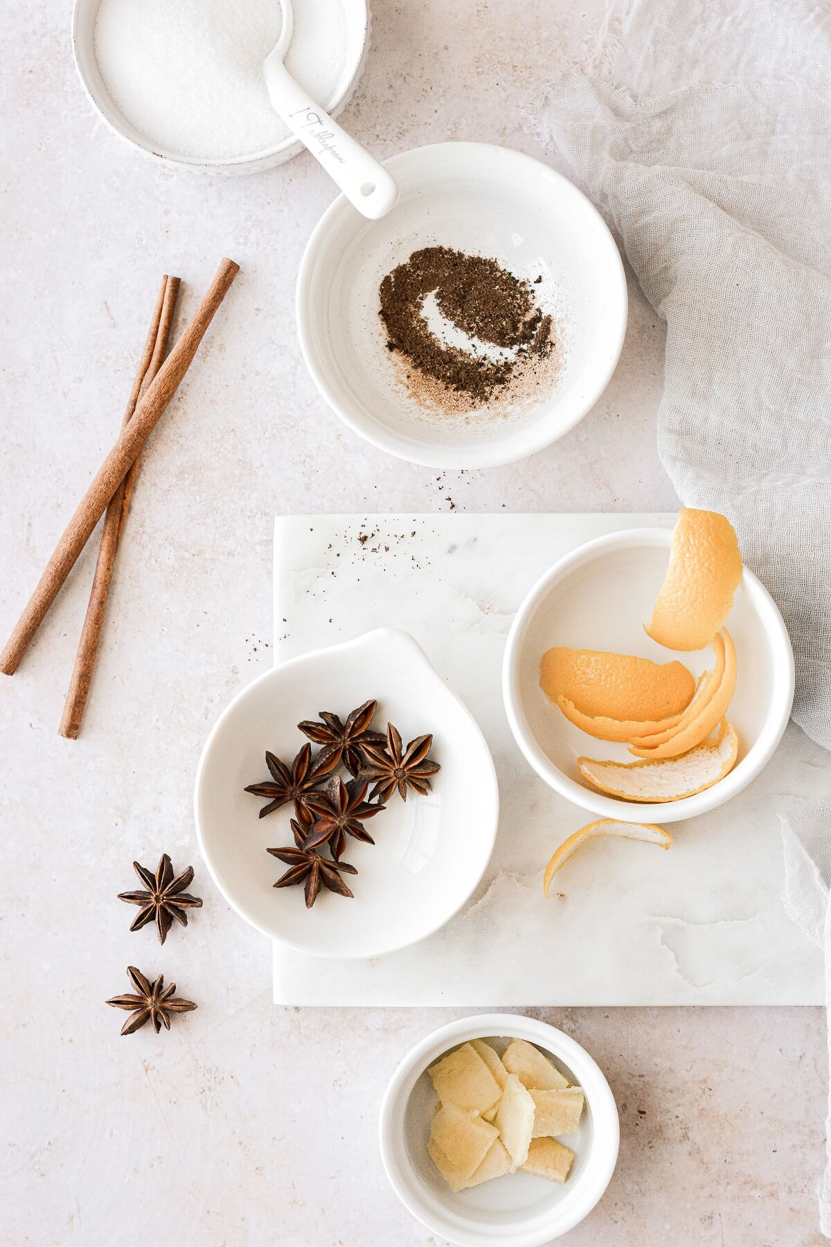 Spices for poaching pears.