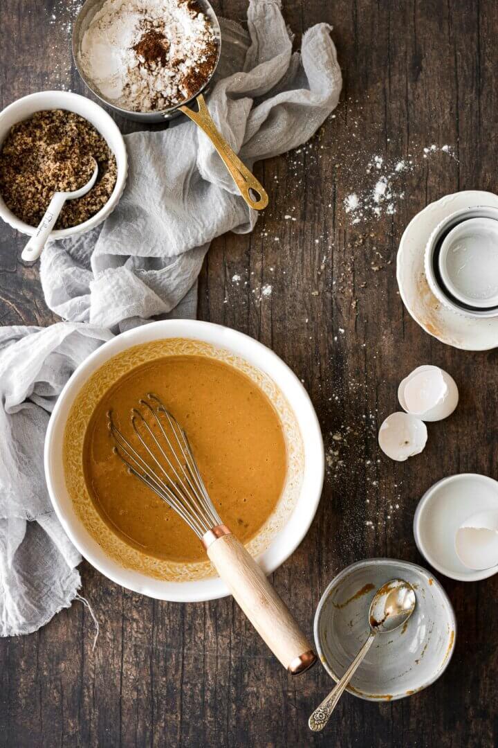 Ingredients for pumpkin pecan waffles.